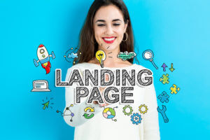 Landing Page text with young woman on a blue background